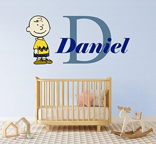 Ottosdecal Custom Name Children & Kids- Charlie Brown -Wall Decal Nursery for Children Bedroom- Nursery Decal- Wall Vinyl Sticker Home Interior Decoration (64