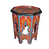 Moroccan Octagonal Hand Painted End Table Moorish Design Furniture