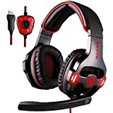 GW SADES SA903 USB 7.1 Surround Sound Stereo PC Gaming Headset Headphones with Microphone Volume-Control LED light (Black/Red)