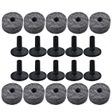Mxfans 10 Pieces Black Drum Parts Felt Washers & Long Flanged Cymbal Sleeves