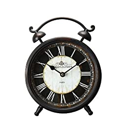 Adeco Champs Elysees Old World-Inspired Brown Iron Alarm Clock Style Wall Hanging or Table Clock with Roman Numerals