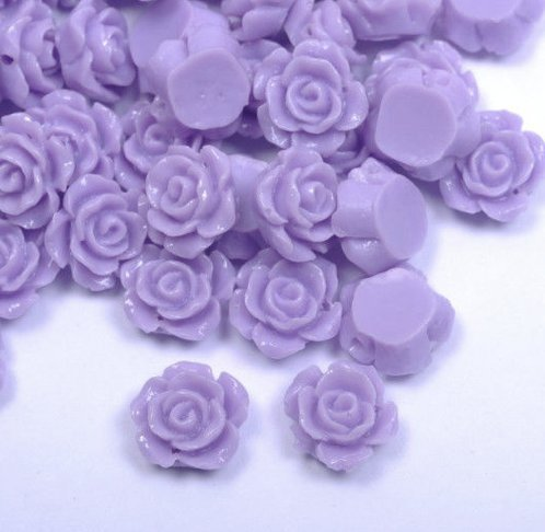 AMZ Beads - Wholesale lot 12mm Acrylic Light Purple Color Flower Rose Beads - 100 beads per package - Wholesale Lot 12 Pastel