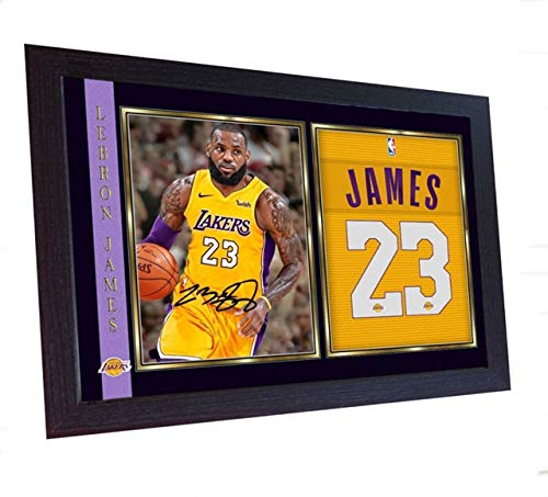 Los Angeles Lakers Framed - S&E DESING Lebron James Los Angeles Lakers Signed Autograph Lebron Photo Print NBA Framed
