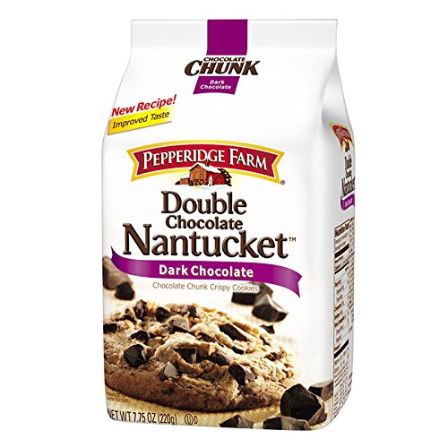 Pepperidge Farm, Double Chocolate Nantucket, Dark Chocolate, Chocolate Chunk Crispy Cookies, net weight 220 g (Pack of 1 piece) / 8eststore by ()