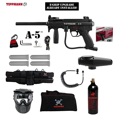 Tippmann A-5 w/ Selector Switch E-Grip Specialist Paintball Gun Package - Black (Automatic Coil Selector)