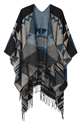 Urban CoCo Women's Printed Tassel Open front Poncho Cape Cardigan Wrap Shawl (Black-series 2)