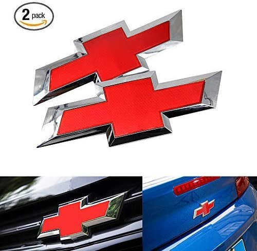 Red Black Logo Fit for Chevy Chevy GM Silverado 1500Silverado 1500 Silver Red Carfilter New 2PCS Front /& Tailgate Bowtie Emblem For 2016-2018 GM Chevy Silverado 1500
