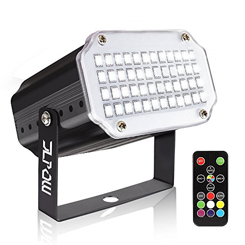 Strobe Light with Remote, JLPOW Sound Activated Halloween Mini Strobe Lights, Super Bright 48 RGB LED, Remote Control Flash Stage Lighting, Best for DJ Party Show Club Disco Karaoke ()