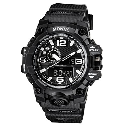 Original Black Pilot Sports watch Ana-Digi Multi Function Waterproof Sports Quartz with LED ()