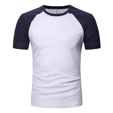 Bestow Blusa Corta de los Hombres Remiendo Ocasional de los Hombres O Cuello Pullover Camiseta Corta