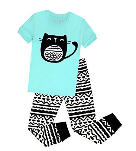 Big Girls Cat Pajamas Kids Cotton Sleepwear 2 Piece Toddler Clothes Set (4T, Blue)