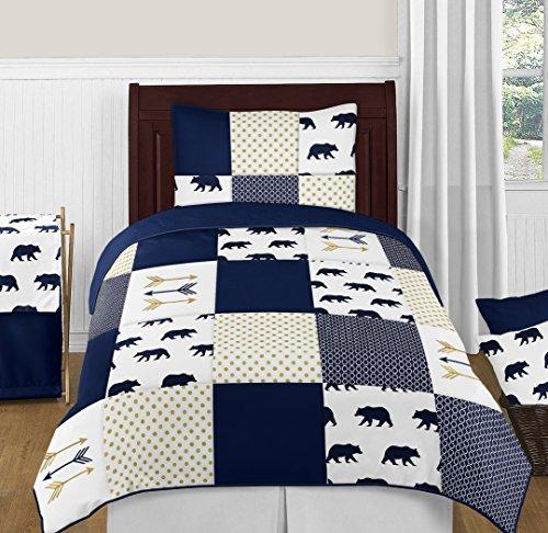 Sweet Jojo Designs 4-Piece Navy Blue, Gold, and White Big Bear Boy Twin Kid Childrens Bedding Comforter Set s