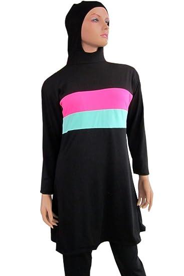 KINDOYO Femmes Musulmanes Maillot de Bain Robe Modeste Couverture Complète Beachwear Islamique Burkini Burqini, Violet, EU 4XL=Tag 5XL