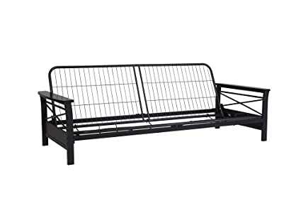 dhp nadine metal futon frame with espresso wood armrests full size mattress not included amazon    dhp nadine metal futon frame with espresso wood      rh   amazon