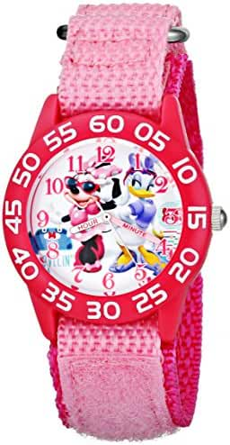 Disney Kids' W001661 Minnie Mouse and Daisy Duck Plastic Case Watch with Pink Strap