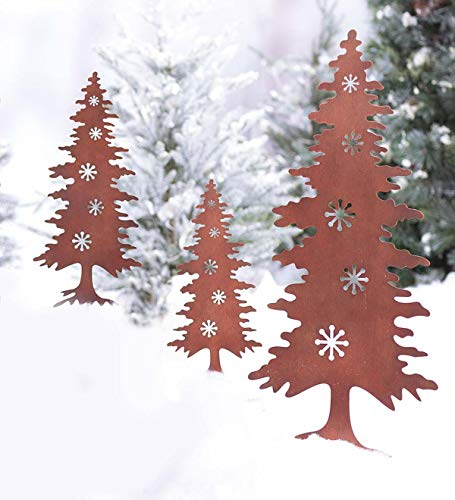 - Wind & Weather Rust Finished Silhouette Outdoor Metal Garden Stakes - Laser Cut Design - Holiday Yard Art Decor - Set of 3 - Largest 10.5 W x 29.5 H - Christmas Tree
