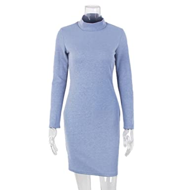ZHANGZZ Vintage Dress New Women Bodycon Vestidos Long Sleeve Turtleneck Fitness Dresses