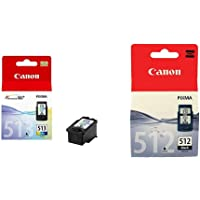 Canon CL-513 Cartucho de Tinta Original Tricolor para Impresora de Inyeccion de Tinta Pixma + PG-512 Cartucho de Tinta…