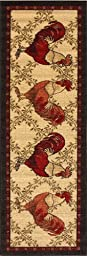 Kitchen Collection Rooster Beige Multi-Color Printed Slip Resistant Rubber Back Latex Contemporary Modern Runner Area Rug (9112) (20\
