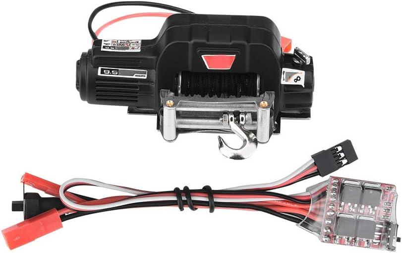 Dilwe Simulación de Coche de Escalada Winch, Metal Control Electrico Sistema de Control Remoto del Coche Piezas Accesorios para Traxxas HSP Redcat RC Off-Road Crawler Car