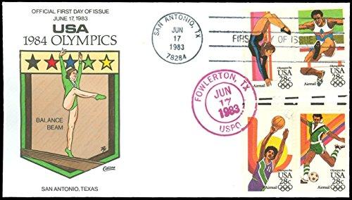 Olympic Mascot Fancy Dress Costume (1983 COLLINS HAND PAINTED FDC, 1984 Olympics, Balance Beam Cachet, #C101-C104!)