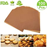 Unbleached Precut Parchment Paper Baking Liners Sheets,8×10 inches,Non-Stick Square Wax Paper for Grill,Cookie