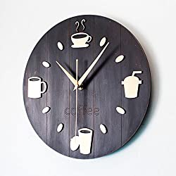 Vintage Countryside Coffee Bean Cup Wall Clock Creative Design Fashion Round Wall Clock Silent Clock ,D