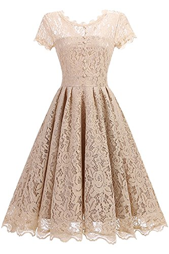 Absolute Rosy Women's Short Sleeve Round Neck Lace Party Dress Apricot M(1523) ()