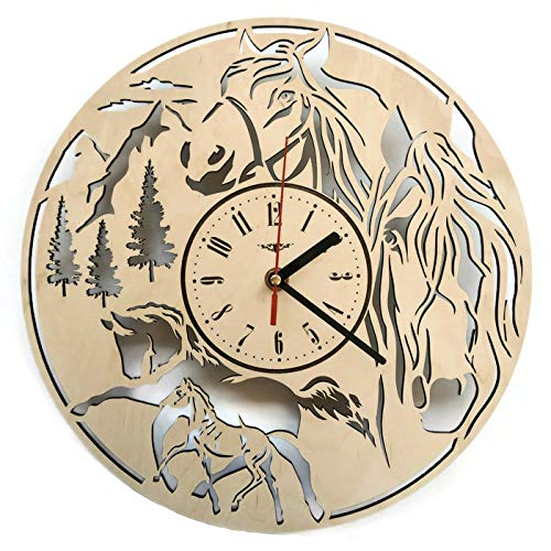 ShareArt Horse Analog Wood Wall Clock - Non Ticking Quartz Wall Clocks Battery Operated - Cute Rustic Bedroom Kitchen Office Nursery Wall Decor - Unique Custom and Personalized Gifts - 12 Inch ()