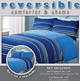 3 Pieces Reversible Blue, Green, Brown and White Stripe Comforter and 2 Sham Set Queen Size Bedding