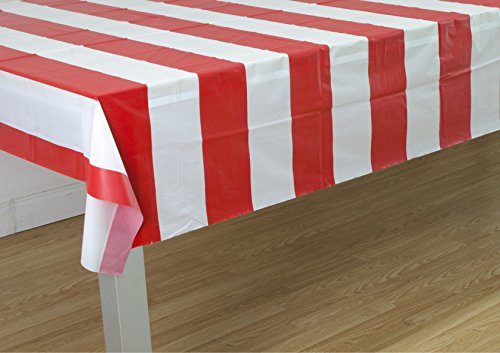 Red & White Stripes Carnival Them Party Tablecover Pack of 3 by Oojami by Oojami (Image #1)
