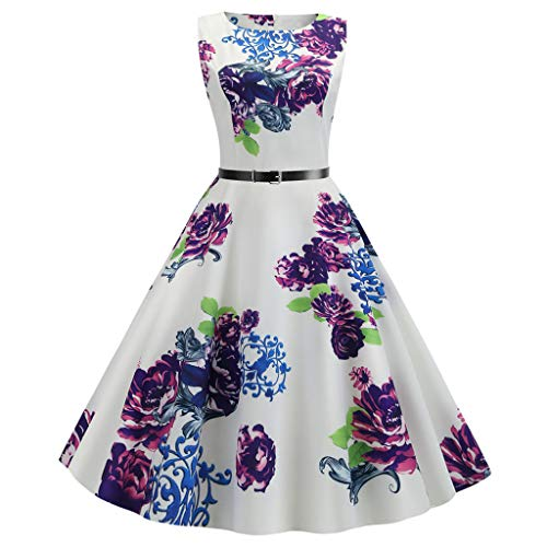 Outique Women Vintage Evening Party Prom Swing Dress 2030s Retro Sleeveless O Neck Print Waist Bow Design Hepburn Style Purple