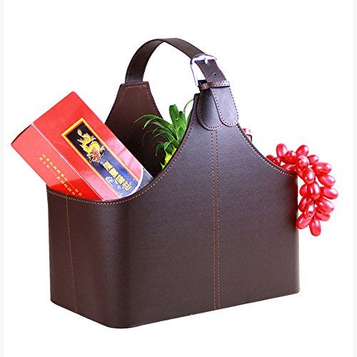 Leather Gift Basket,Magazine Newspaper Holder/Racks,Storage Organizer for Wine Flowers Fruits Candys,for holiday presents Christmas display (Coffee)
