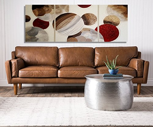 Multi Panel Metallic Oil Paint Galaxy Circle Painting Original Artwork/ Contemporary Metallic Pearl Bronze Bordeaux Abstract Large Wall Art