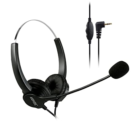 AGPtEK 2 5mm Dual Ear Call Center Telephone Headphone, 6FT Noise Cancelling  Binaural Headset, with Boom-Style Mic for Most Cordless Phones