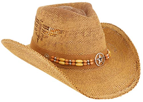 RufnTop Men's & Women's Western Vintage Style Cowboy Cowgirl Straw Hat w Band Décor(Bulls 6)