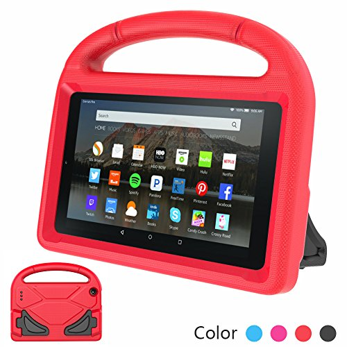 Euow Fire 7 2017/2015 Kids Case,Handle Stand EVA Protective Cover-Shock Proof Convertible 7 inch Display Light Weight Child Case for kindle Fire 7 Tablet New (Red)