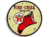 American Vinyl Round Vintage FIRE Chief Texaco Gas Sticker (Gasoline Logo Old Rat Rod)