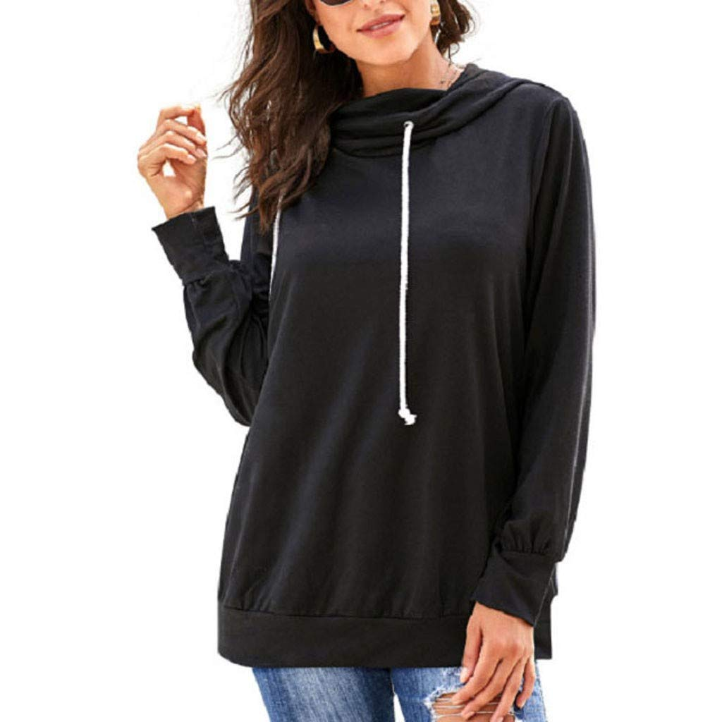 HebeTop Womens Active Long Sleeve Fleece Lined Fashion Hoodie Pullover with Plus Size Black by ▶HebeTop◄➟HOT SALES
