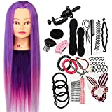 """Neverland 26-28"""" Training Head Hairdressing Mannequin Manikin Doll 100% Synthetic Fiber Hair + A Set of Hair Styling Braid Set + Free Clamp (Purple)"""