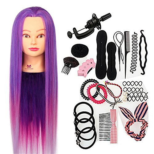 Neverland Practice Hairdressing Training Heads Echthaar Friseurkopf Practice Training Head Synthetic Hair 64 cm Verträ Umtes Purple Hair Styling Braid Set NEVERLAND Beauty & Health