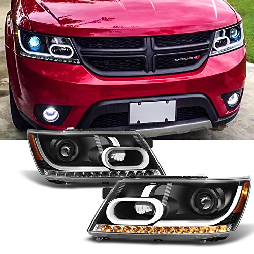 For 2009 2010 2011 2012 2013 2014 Dodge Journey Replacement Light Tube Black Projector Headlights Lamps