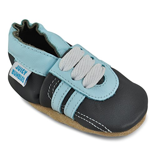 Beautiful Soft Leather Baby Shoes - Crib Shoes with Suede Soles,Color: Grey Sneakers,18-24 Months
