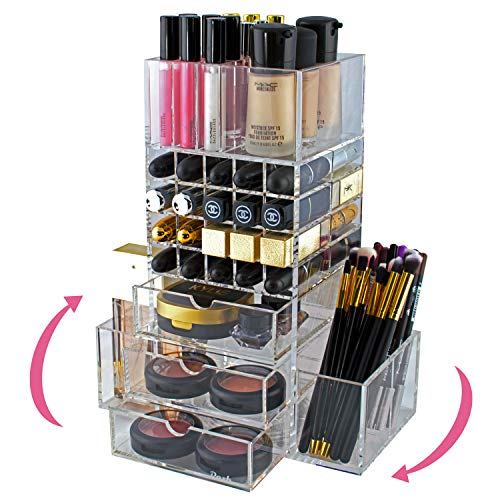 Shadow Spinners Pocket - Spinning Makeup Organizer Rotating Tower, Acrylic All-in-One Lipstick, Lip Gloss & Makeup Brush Holder, Drawers & Pockets for Eyeshadows, Compacts, Blushes, Powders & Perfume
