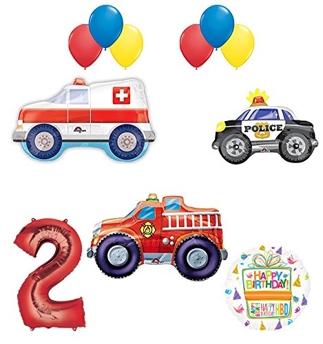 Team Rescue 2nd Birthday Party Supplies and First Responders Balloon Bouquet decorations]()