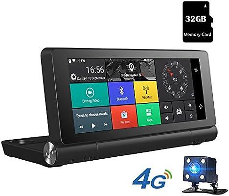 Junsun 7 Pulgadas Navegador GPS para Coche 4G con Cámara de Coche Videocámara DVR 1080P HD WiFi y Mapa 48 países Europa