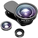 VicTsing Fisheye Lens, 3 in 1 Fisheye Lens & 0.4X Super Wide Angle Lens & Macro Lens for Christmas Gift, Clip on Cell Phone Lens Camera Lens Kits for iPhone 7, 6s, 6, 5s & Most Smartphones