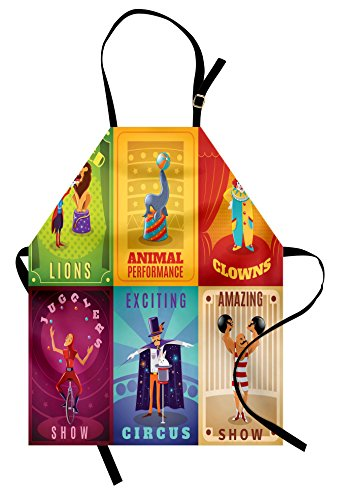 Ambesonne Circus Apron, Circus Characters with Trained Animals Strong Man Trapeze Artist Retro Show Design, Unisex Kitchen Bib Apron with Adjustable Neck for Cooking Baking Gardening, -