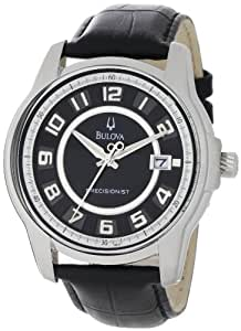 Bulova Men's 96B127 Precisionist Claremont Black Leather Watch