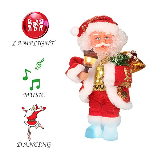 ElementDigital Christmas Santa Musical Doll, Dancing and Singing Xmas Plush Electric Toy Christmas Gift Electric Christmas Doll (Santa + Lantern)